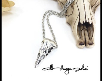 Mens Crow Skull Necklace - Silver Skull Rope Chain Jewelry