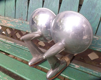 Vintage Chrome Pair Side View Door Mirror Hot Rod Truck Muscle Car