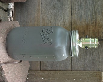 Gray Mason Jar Lamp, Half Gallon Jar Lighting, Gray Lamp, Rustic Mason Decor, Industrial lighting, Mason Jar Lighting