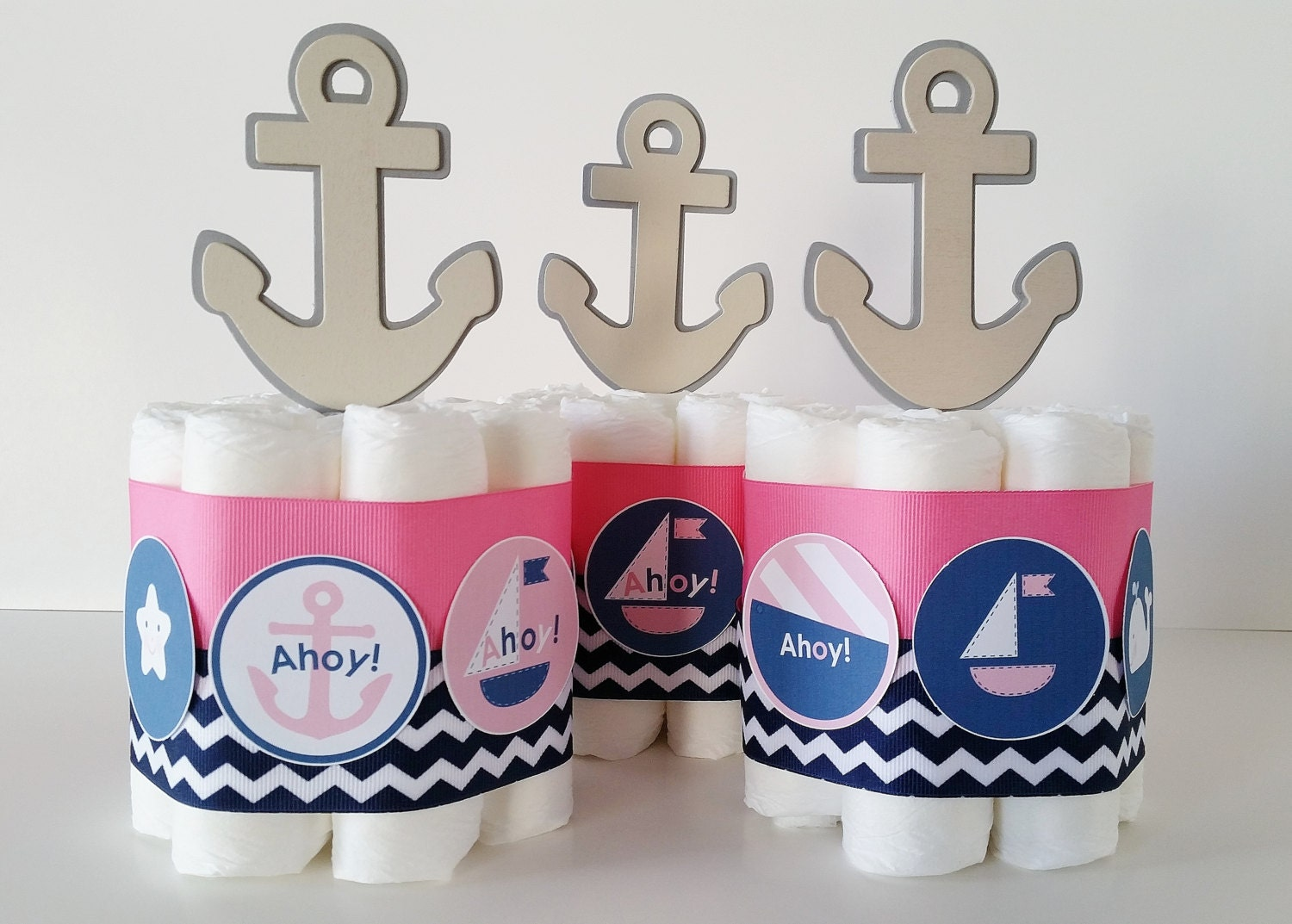 nautical girl baby shower centerpieces nautical diaper cakes