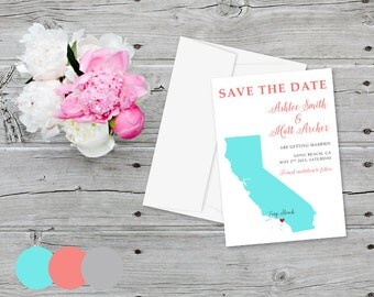 Wedding Save the Date Card California Map