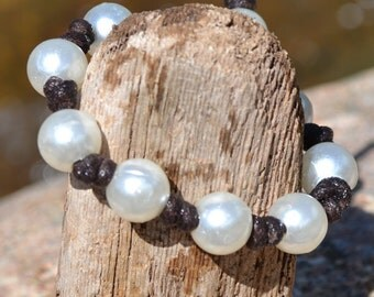 Beachy Brown Knotted Pearl Bracelet - Pearl Knotted Bracelet - Surfer Bracelet - Vegan Leather Pearl Bracelet