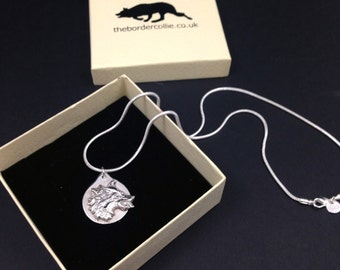Sterling silver Border Collie pendant