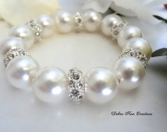 Swarovski White Pearl Crystal Wedding Bracelet Pearl Bridal Bracelet Pearl Wedding Jewelry Bride Jewelry Bridesmaid Bracelet Formal Chunky