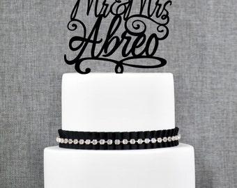 Script Mr and Mrs Last Name Wedding Cake Topper, Personalized Script Cake Topper, Elegant Custom Mr and Mrs Wedding Cake Topper - (T149)