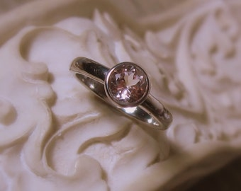 25% OFF Morganite Solitaire Ring, 14K Gold, white, yellow, rose gold, Made to Order