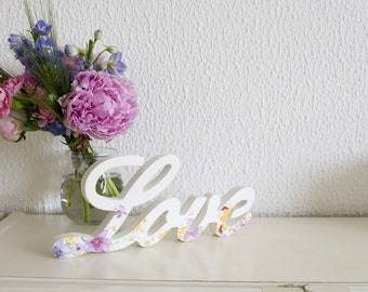 Love word - Wedding decor - Decoupaged word - Words for home - Decorative word - Floral wedding