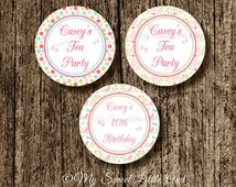 Tea Party label - tea  Cupcake Topper - tea party  Tags - tea birthday  - tea baby shower - tea party printable - pink tea party label