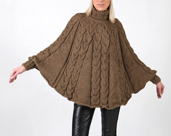 Instant Download PDF pattern. Hand knitted poncho with cuffs and hat. Digital pattern from Ilze Of Norway. (0118)