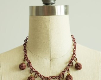 vintage 1930s necklace / 30s celluloid necklace / Sienna Bauble Necklace