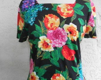 Vintage 90s Drop Waist Cotton Summer Dress L