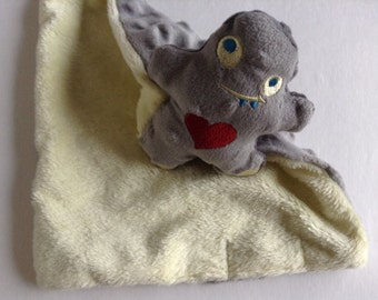 Monster  mini blanket, minky security blanket,  mini Security Blanket , Lovie,  Gray Monster Lovey, Monster woobie Blanket, Comfort blanket