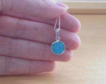 """925 Blue Opal Pendant & 18"""" Sterling Silver Chain/Opal Jewellery/Opal Jewelry/Opal Necklace/October Birthstone/Silver Opal Necklace/Jewelery"""