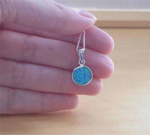 Pendentif opale bleue 925  18\u0026quot; argent chaîne/opale bijoux/Opale bijoux/