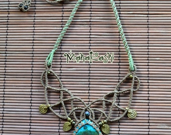 "Macrame necklace ""Atlantis""  with Chrysocolla and Electroplate natural Citrine chip"
