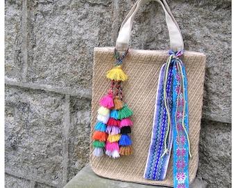 SALE 50% OFF, Boho Gifts, Hobo Bag Hippie Boho Bohemian Linen Purse Shopper Bag Tote, Pom Pom Tassel Bag, Bridesmaid Tote, FREE dip bag