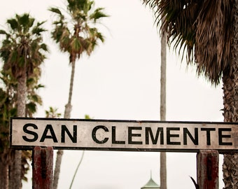San Clemente Wooden Sign, Pier, Coastal Palm Tree California Photography
