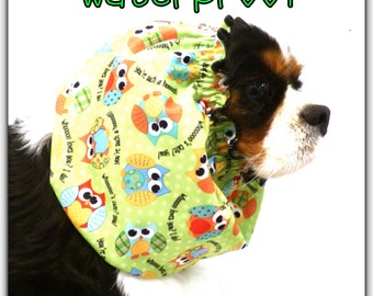 Waterproof snood with owl print dog snood/ dog snood/ dog hat/ dog accessories/ ear coverings