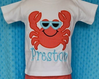 Personalized Crab Wearing Sunglasses Applique Shirt or Onesie Boy or Girl