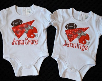 Personalized Initial Football Pennant & Helmet Applique Shirt or Onesie
