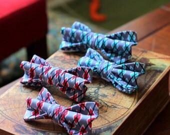 Dog bowties with Argyle print fabric