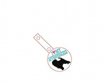 I Love My AFFENPINSCHER In The Hoop - Snap/Rivet Key Fob - DIGITAL Embroidery Design