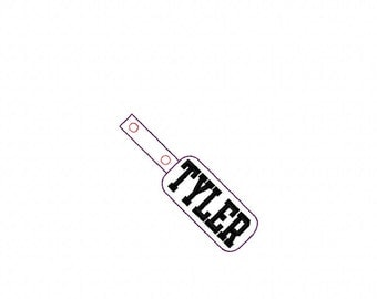 Tyler - Name - In The Hoop - Snap/Rivet Key Fob - DIGITAL EMBROIDERY DESIGN