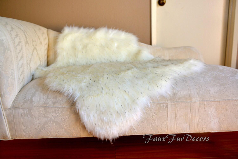 Flokati sheepskin couch sofa throws cushion buffer faux fur for Fur throws for sofas