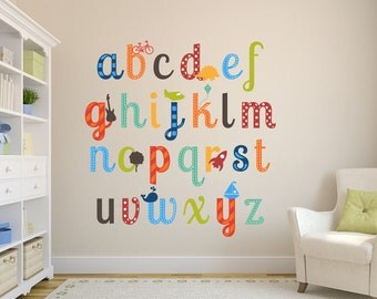 Alphabet Boys Nursery ABCs Wall Decals Reusable Learning Set Lower Or Upper  Case Letters Set Children Part 52