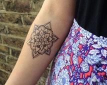 Henna Style Temporary Tattoo Floral Geometric Mandala Hand Drawn