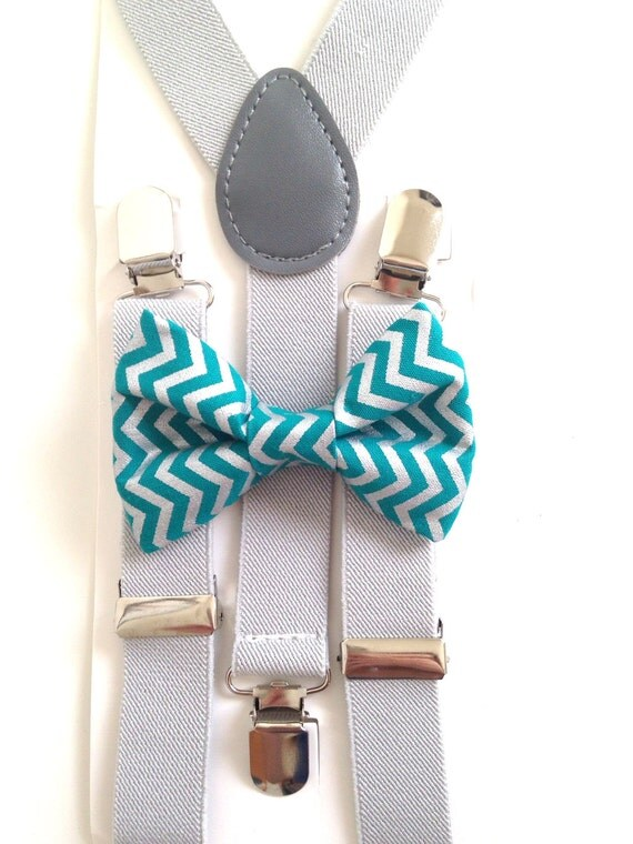 Lught Gray Suspenders and Teal Chevron Bow Tie