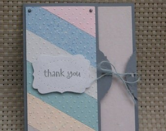 Thank You Card Made With 100% Recycled Paper - Pink/Green/Orange/Blue/Gray