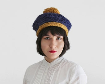 Crochet Beret with Pom Pom - Fall and Winter Fashion Accessory - Crochet Hat with Pom Pom in Navy and Gold | The Charon Beret |