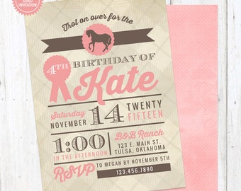 Girls Equestrian Horse Printable Birthday Party Invitation