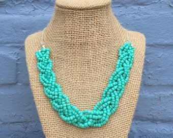 Turquoise Statement Necklace, Teal Statement Necklace, Turquoise Necklace, Aqua Necklace, Braided Necklace, Statement Necklace, Bib Necklace