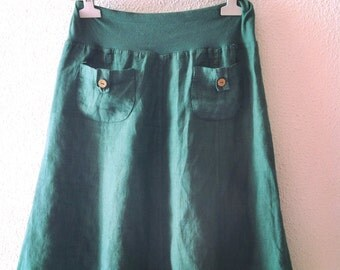 Vintage skirt-green skirt-linen skirt-short skirt-a line skirt-skirt-boho skirt-hippie skirt-beach party