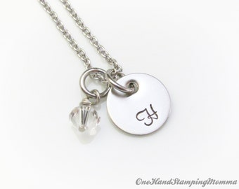 Personalized Jewelry - Hand Stamped Necklace - Mom initial  Necklace