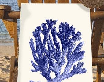 Blue Coral print 1  - Nautical print coral art beach decor wall decor marine painting nautical picture nautical decor beach house