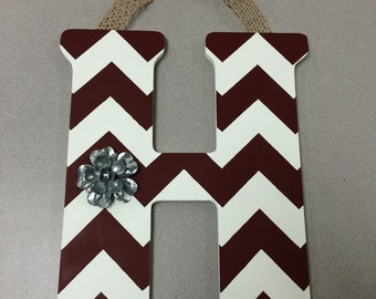Handpainted Letter H in Maroon & White