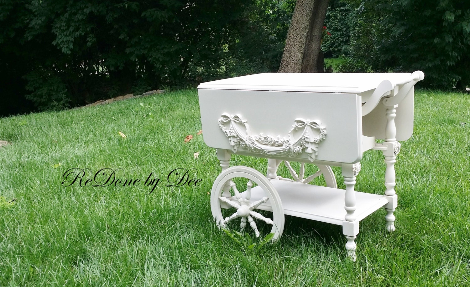 Retro 1970 Painted Maple Vintage Tea Cart Rolling Server