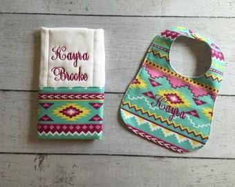 Personalized Baby Bib, and Burp Cloth Set