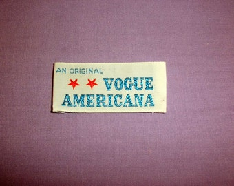 Vintage 1960's Vogue Americana Sew In Label Unused ~ FREE SHIPPING in USA