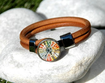 Brown Leather Halskette Snap Jewelry Ginger Snaps Jewelry Interchangeable Snap Bracelet Popper Snap Chunk Noosa Style Clock Snap Charm
