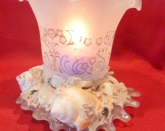 Sea Shell Votive Candle Holder Vintage Glassware