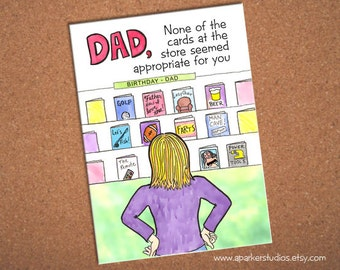 Dad Birthday Card, funny card for dad, hand drawn card for hard to shop for dads, humorous birthday card for dad, cartoon card