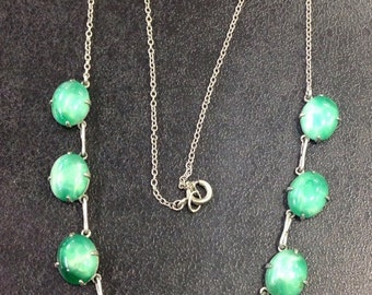 Silver faux jade edwardian necklace