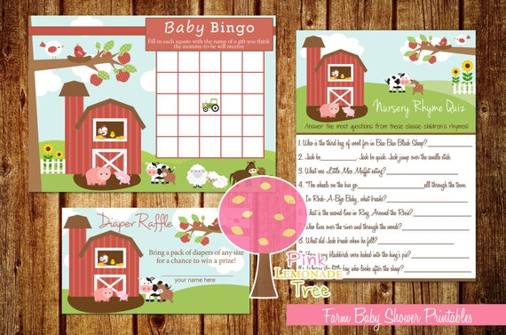 farm baby shower games baby bingo nursery rhymes quiz diaper raffle