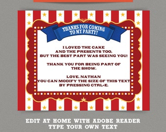 Circus Party - Carnival Party printable Thank you Cards - Editable PDF file - Print at home