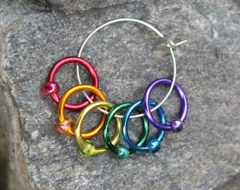 Rainbow Ring Stitch Markers - Snag Free - Knitting