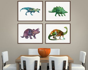 Dinosaur Art Print, Set of 4 Prints, Dinosaur Poster, Dinosaur Wall Decor, Dinosaur Wall Art, Watercolor Dinosaur, Kids Room Decor, Nursery